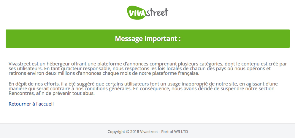 message de suspension de sa rubrique annonces par vivastreet